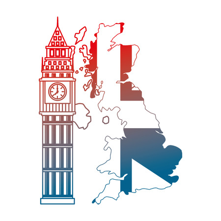united kigndom flag in map big ben tower vector illustration gradient design