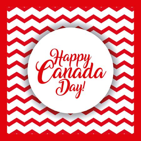 happy canada day card wave background sticker sign vector illustration