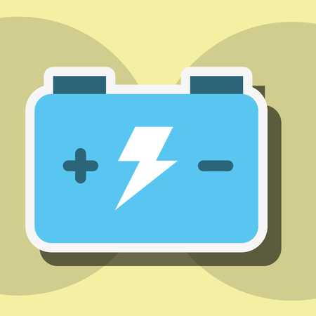 Akkumulator-Batterie-Energie-Energie und Strom-Aufkleber-Vektor-Illustration