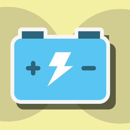 Ilustración de vector de etiqueta de electricidad y energía de batería de acumulador