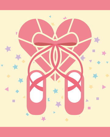 pink ballet pointe shoes diamond shape heart vector illustration