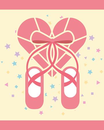 pink ballet pointe shoes diamond shape heart vector illustration
