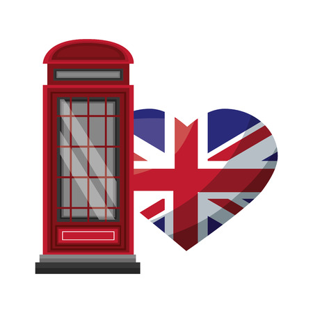london telephone box and british flag vector illustration Ilustrace