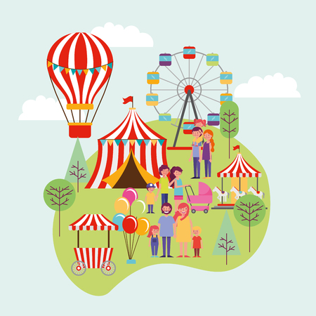 people park and city hot air balloons circus games wheel familys smiling happy day vector illustration