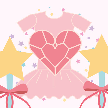 pink ballet tutu magic wand and heart vector illustration Illustration