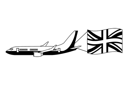 airplane flying with england flag vector illustration black and white  イラスト・ベクター素材