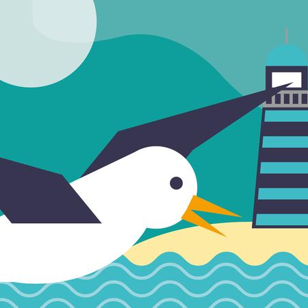 nautical maritime design lighthouse ocean sand gull flying vector illustration