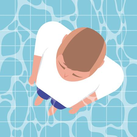 summer time vacation boy standing in the pool fresh date vector illustration
