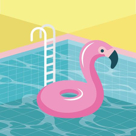 summer time vacation stairs pool flamingo float vector illustration Иллюстрация