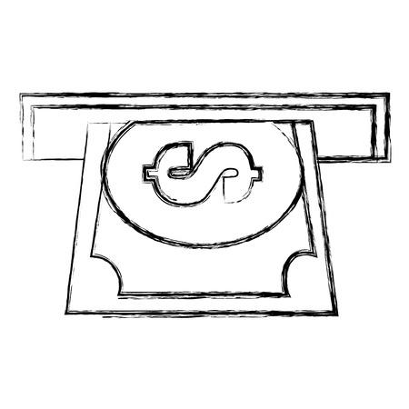 Machine à trous avec conception d'illustration vectorielle billet dollar