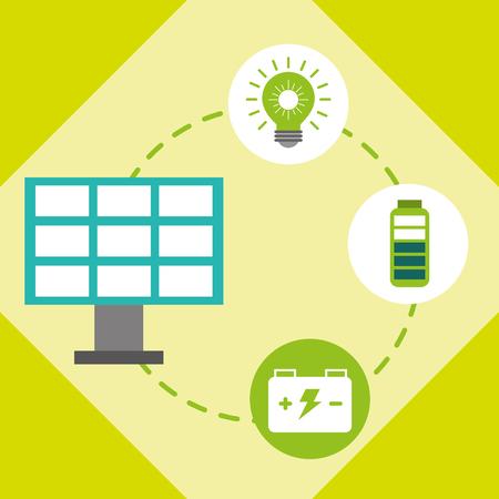 solar panel light bulb accumulator battery vector illustration Illustration