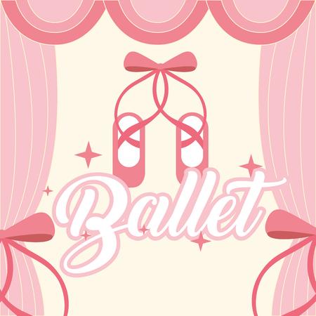 pink ballet pointe shoes frame curtain ballet vector illustration Stock Vector - 104706071