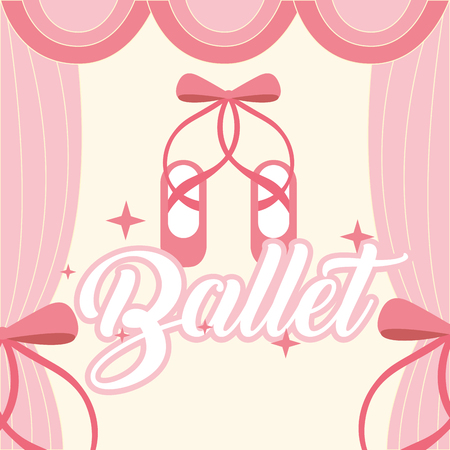 pink ballet pointe shoes frame curtain ballet vector illustration Illustration