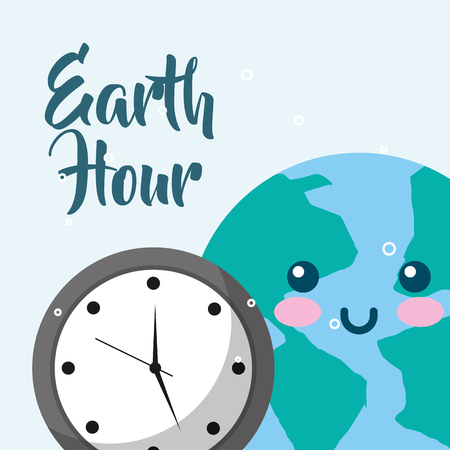 planet earth clock time earth hour vector illustration  イラスト・ベクター素材