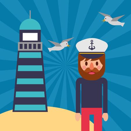 nautical maritime design cute pirate smiling lighthouse gulls sand beach vector illustration