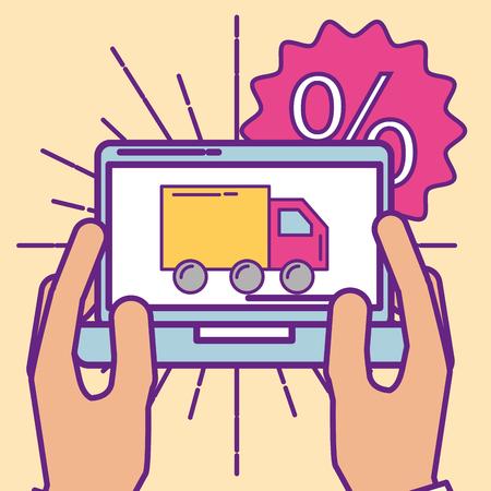 hands holding tablet order delivery transport  buy online vector illustration