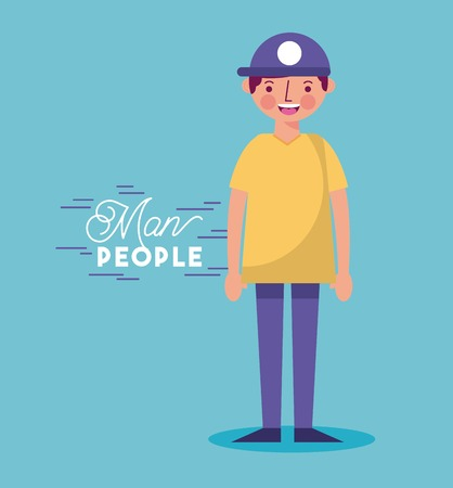 people man character with hat smiling vector illustration