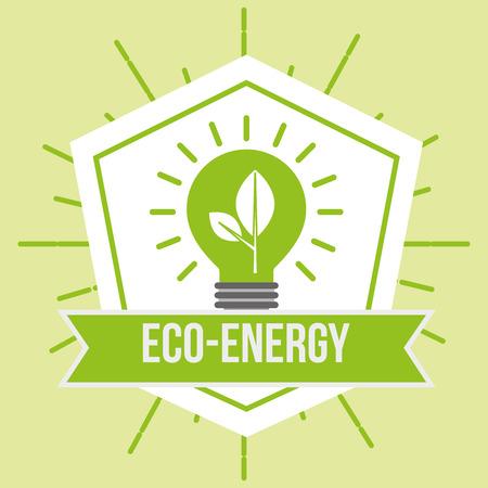 eco energy green bulb light plant emblem vector illustration Çizim