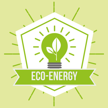 eco energy green bulb light plant emblem vector illustration Illustration