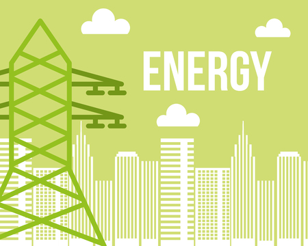 electric tower city urban energy alternative vector illustration Ilustrace
