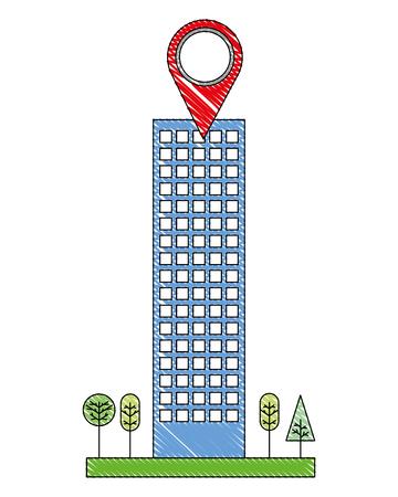 building architecture skyscraper tree gps navigation pointer vector illustration Standard-Bild - 114961076