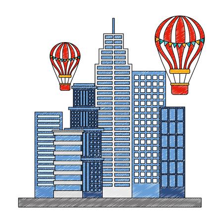 city building flying hot air balloons vector illustration