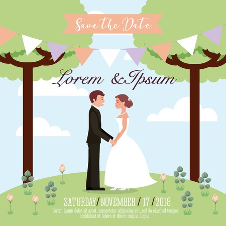 wedding couple in the park save the date card vector illustration