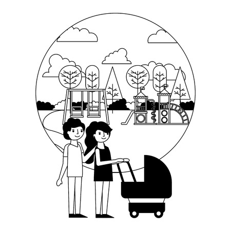 parents couple with baby cart in amusement park vector illustration design