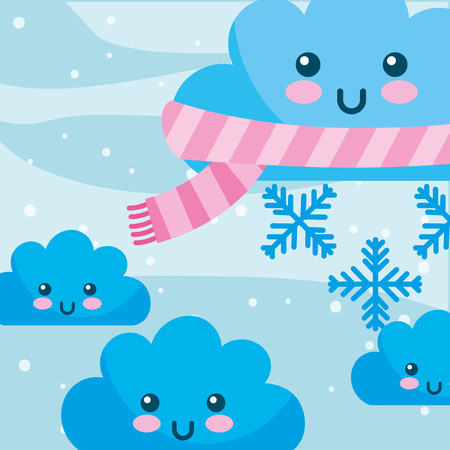 weather winter kawaii cloud with scarf snowflakes vector illustration