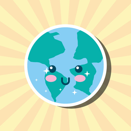 kawaii planet earth world cartoon weather vector illustration Banque d'images - 114968747