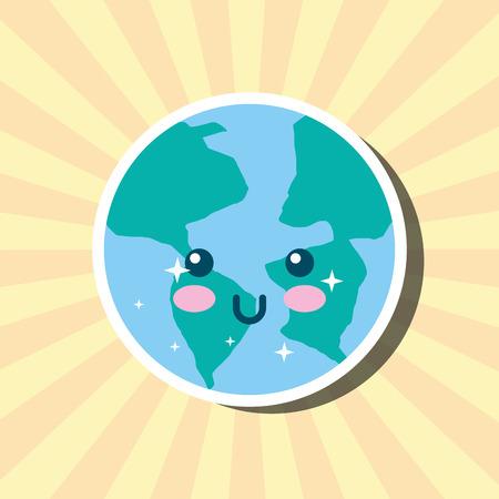 kawaii planet earth world cartoon weather vector illustration
