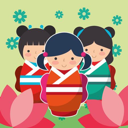 group cute japanese kokeshi doll in kimono vector illustration Ilustração