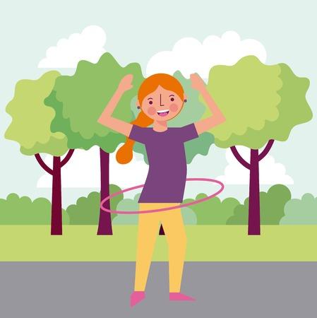 people park happy smiling girl red hair playing hula hula vector illustration