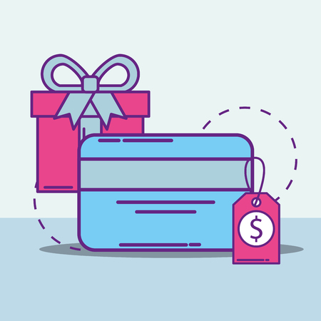 bank card gift box and price tag buy online vector illustration Stock Illustratie