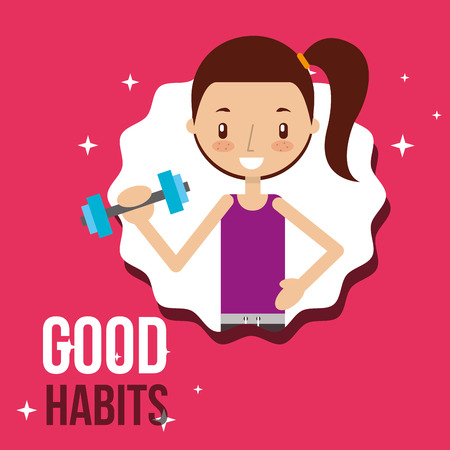 cute girl activity lifestyle good habits vector illustration