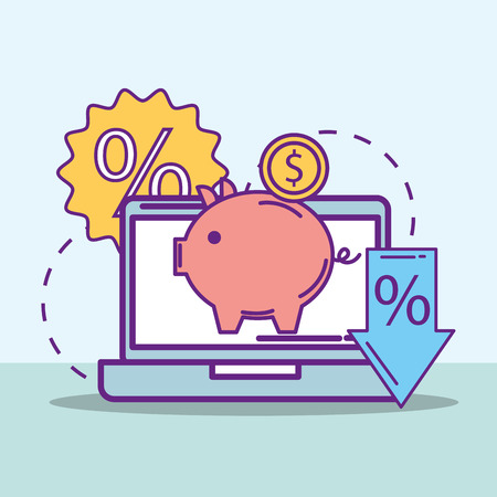 laptop piggy bank money sale offer buy online vector illustration