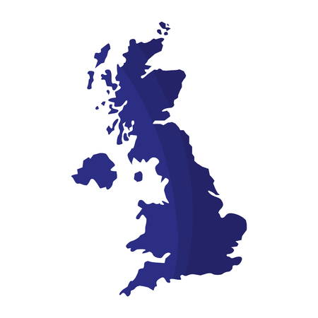 blue united kingdom map geography location vector illustration Stock Illustratie