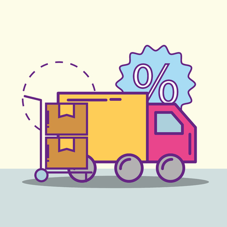 delivery truck cardboard boxes in hand trolley buy online vector illustration