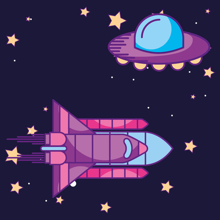 space galaxy card ufo rocket many stars vector illustration