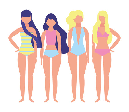 women with swimsuit character vector illustration design