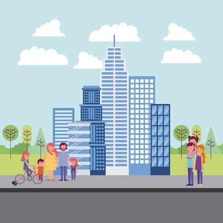 people park and city blue building high familys in street enjoying childrens smiling vector illustration