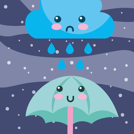 weather rain drops cloud and umbrella cartoon vector illustration