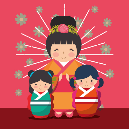 japanese kokeshi dolls kimono cute sunburst grunge style flowers vector illustration Ilustração
