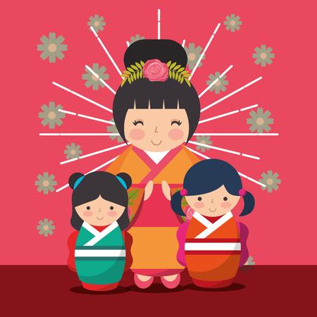 japanese kokeshi dolls kimono cute sunburst grunge style flowers vector illustration Illustration