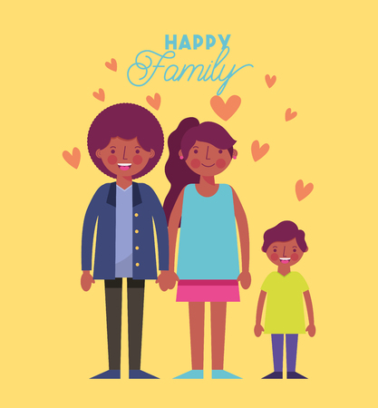 afroamerican family smiling holding hands love hearts vector illustration