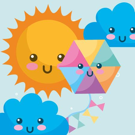 weather kawaii sun clouds and kite cartoon vector illustration Ilustração