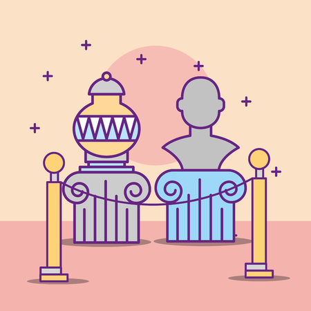 museum monuments design historic vase monument stars protect vector illustration 일러스트
