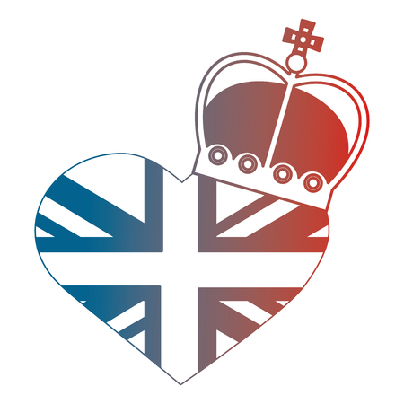 united kingdom flag in heart crown royal vector illustration gradient design