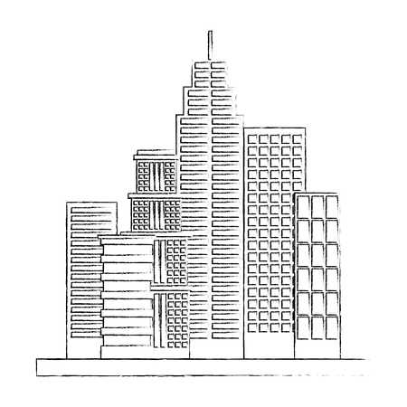 city buildings architecture facade exterior vector illustration sketch