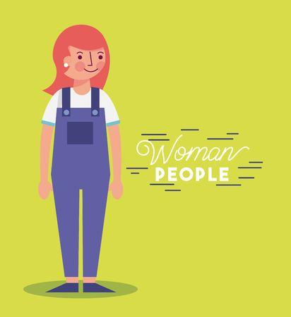 Les gens femme caractère souriant portant une salopette vector illustration Vecteurs
